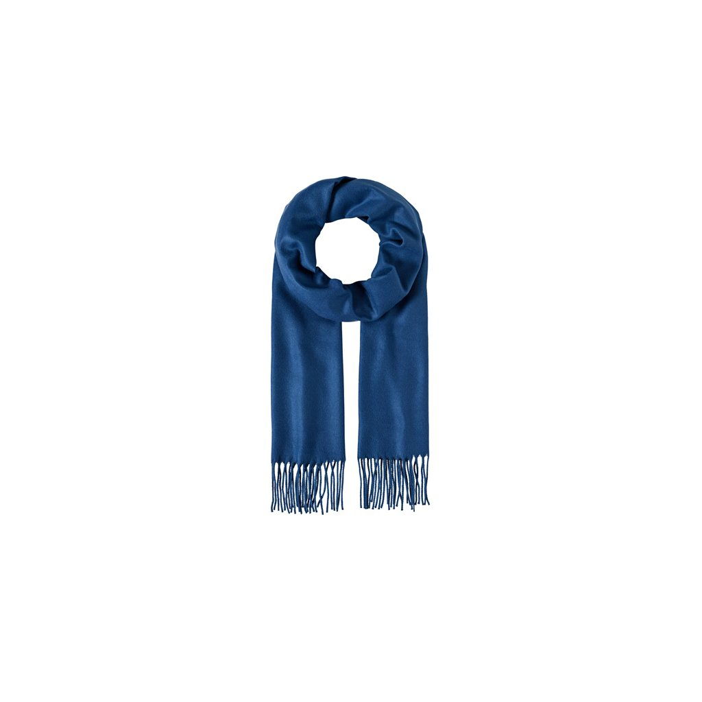 Šála zimní unisex s třásněmi modrá