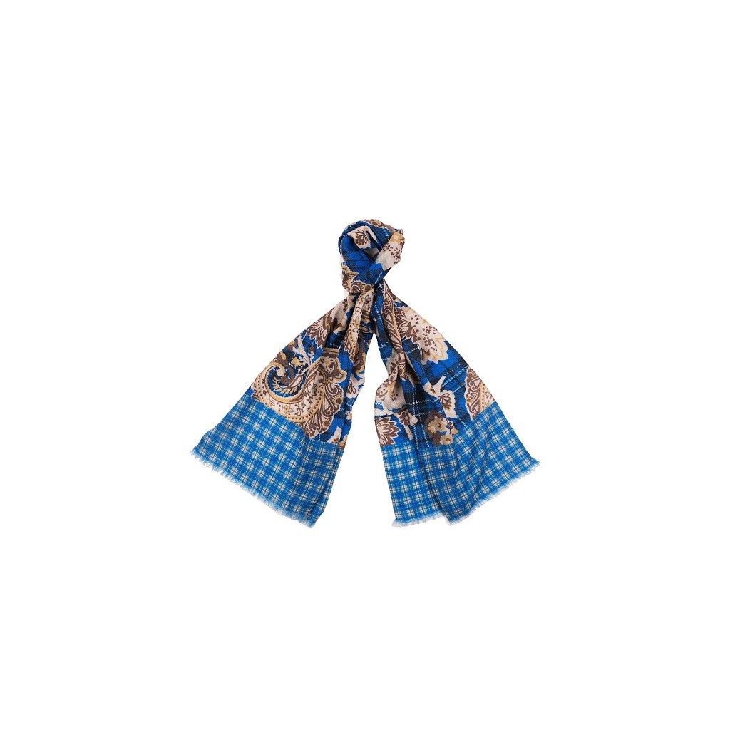 Luxusní vlněná šála - modrá béžová, květinový vzor