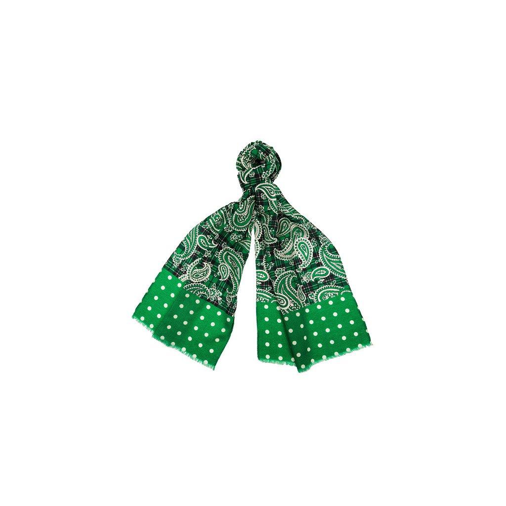 Luxusní vlněná šála - zelená paisley