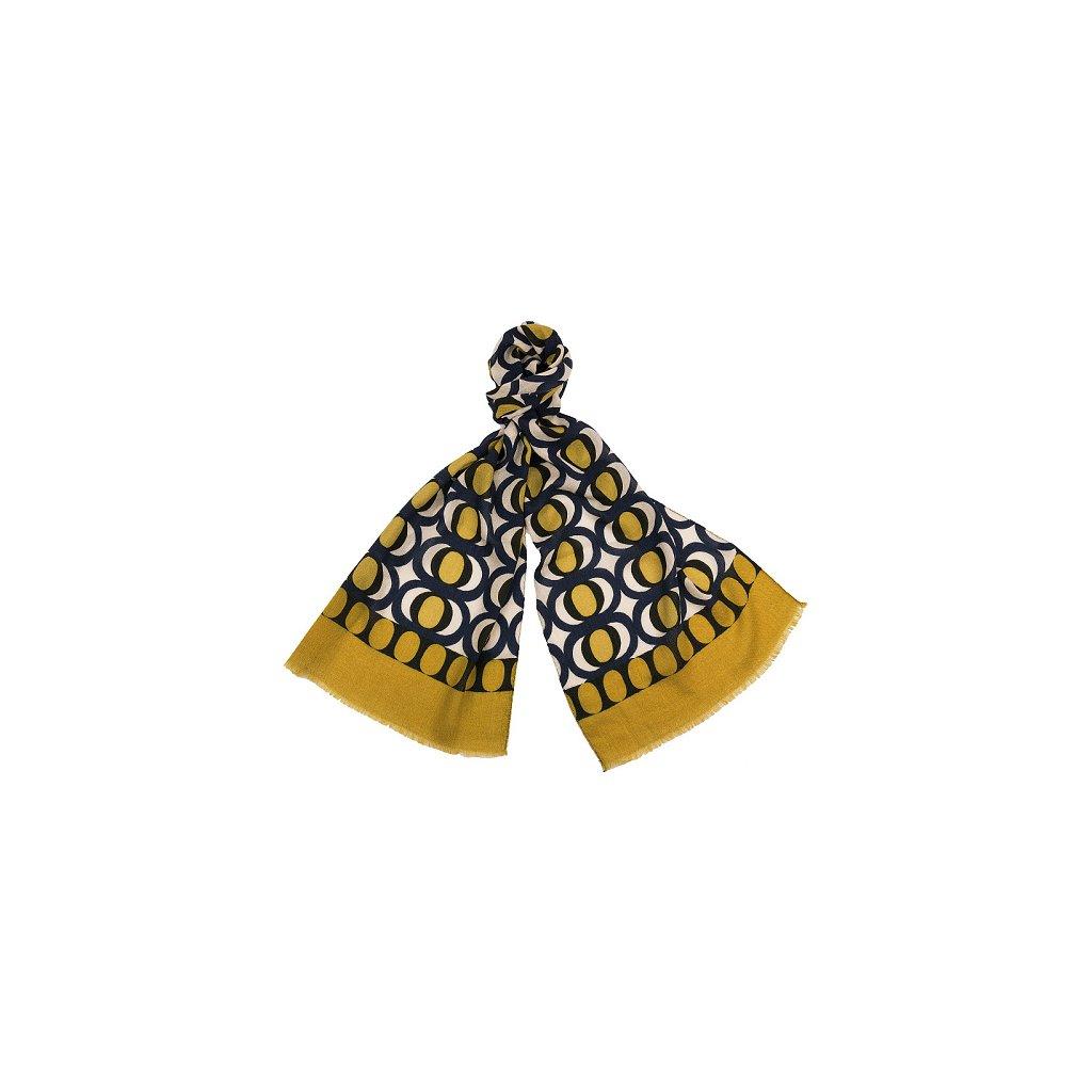 Luxusní vlněná šála - modrá žlutá