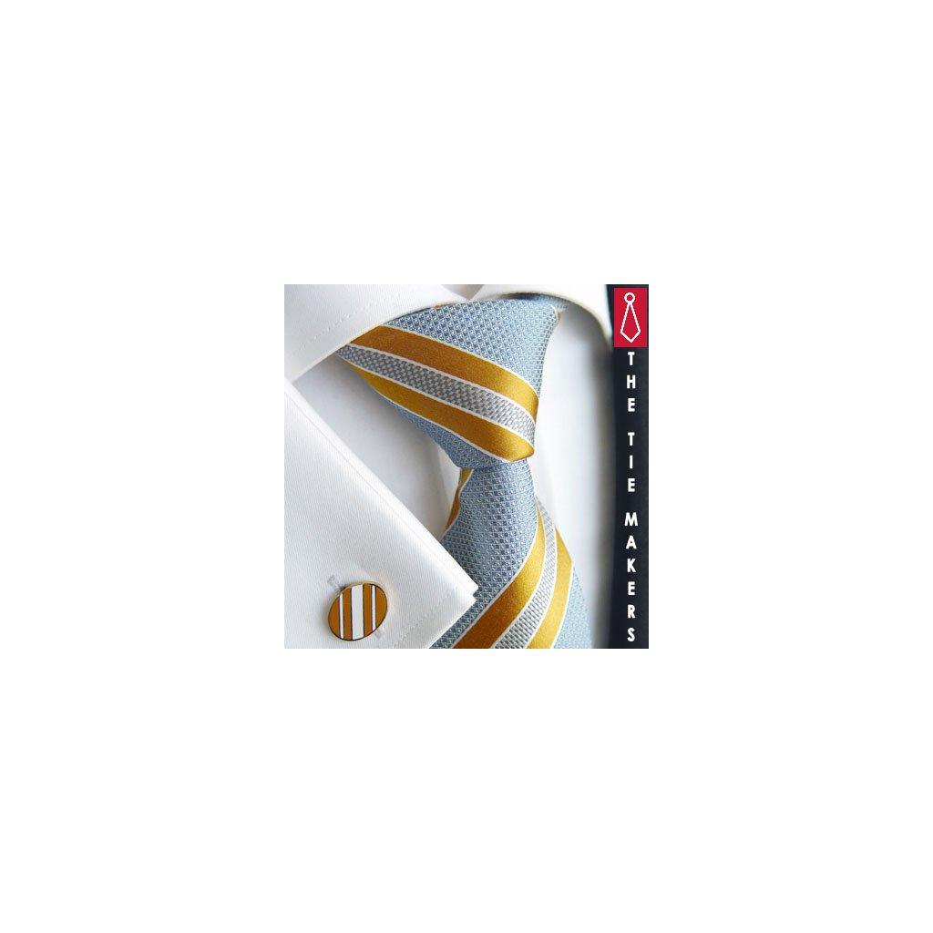 Luxusní hedvábná kravata svštle modrá s oranžovým pruhem 218-1