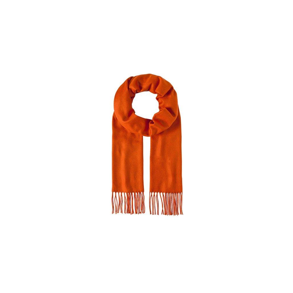 Luxusní šála unisex oranžová s třásněmi