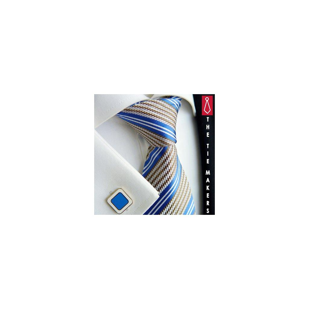 Luxusní hedvábná kravata šedá s modrým pruhem 212-3e