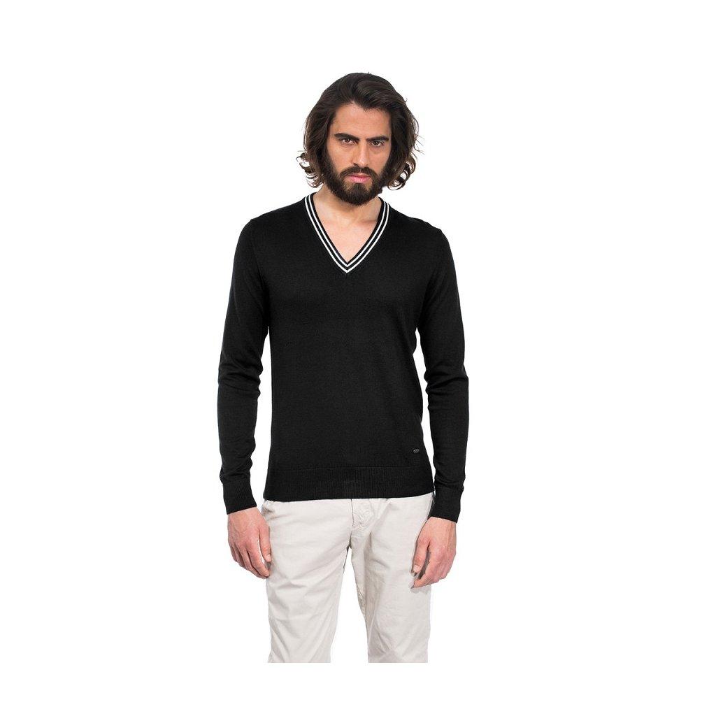 Pánský svetr Vincenzo Boretti - černý s bílými doplňky