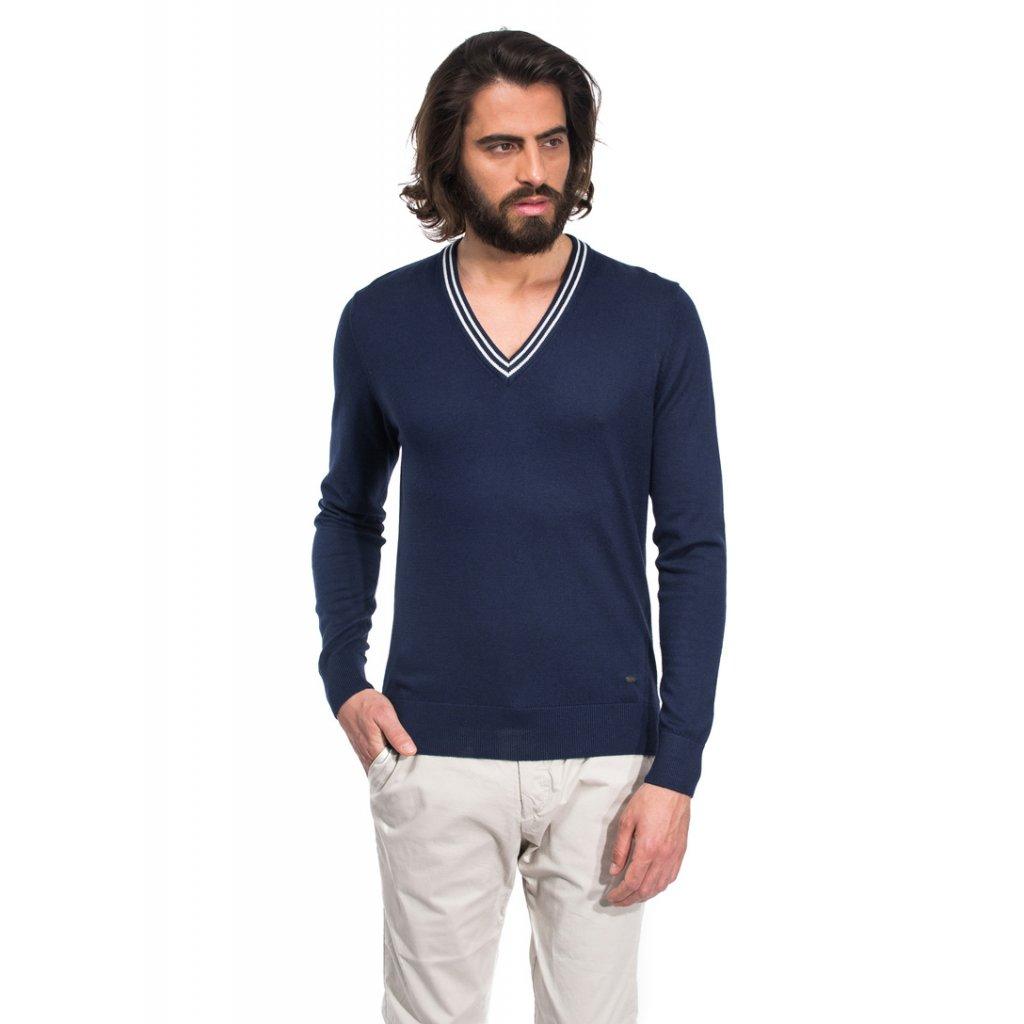 Pánský svetr Vincenzo Boretti - tmavě modrý s bílými doplňky