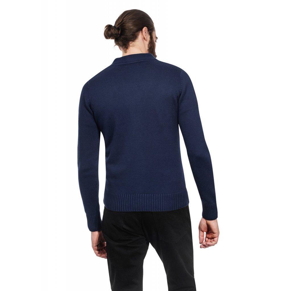 Pánský svetr na knoflíky Vincenzo Boretti - tmavě modrý - Luxusní móda 8da3ac6444