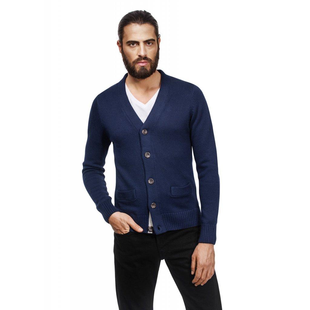 Pánský svetr na knoflíky Vincenzo Boretti - tmavě modrý