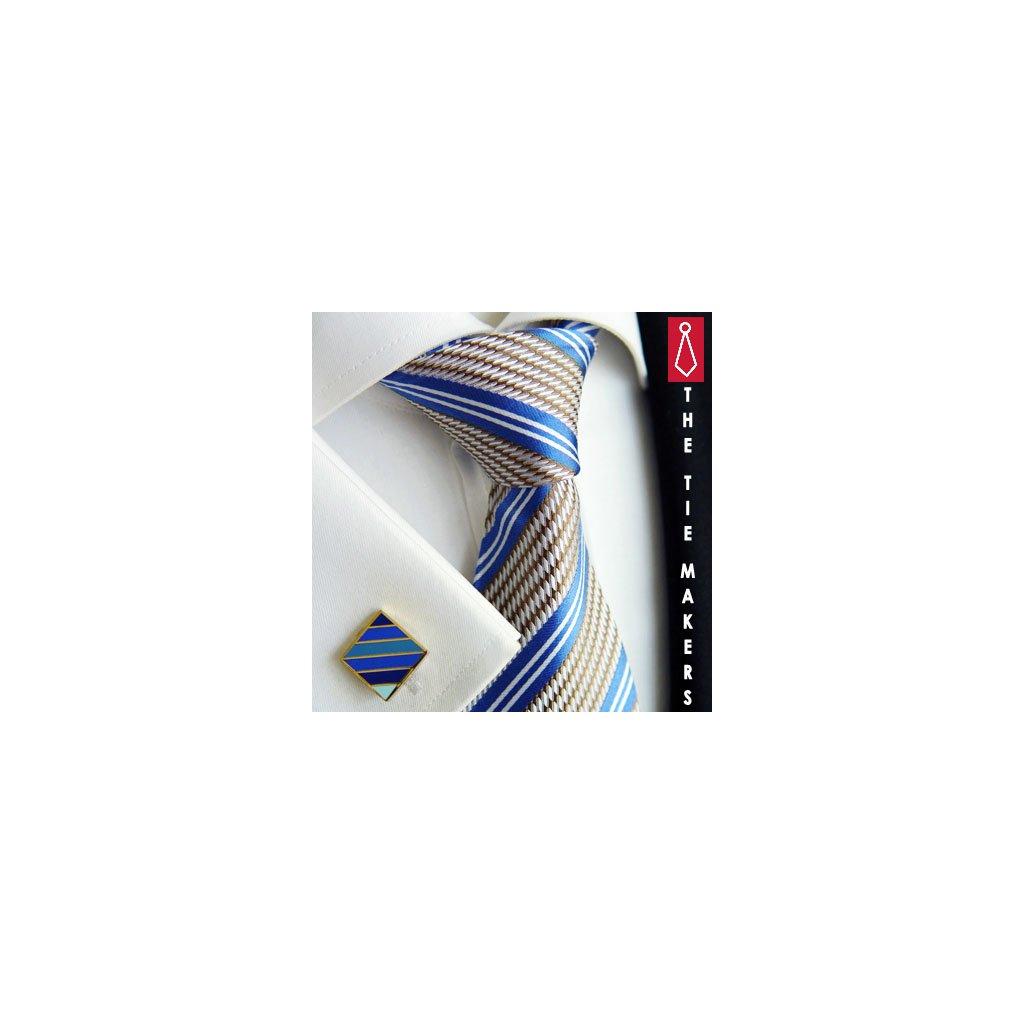 Luxusní hedvábná kravata šedá s modrým pruhem 212-3