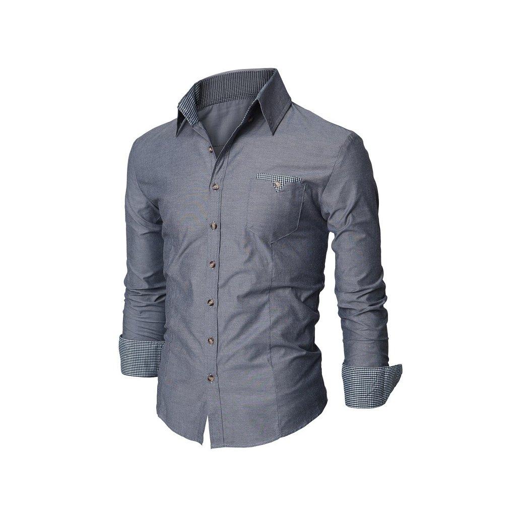 Elegantní pánská bavlněná košile šedé barvy-S -do 1-3 dní