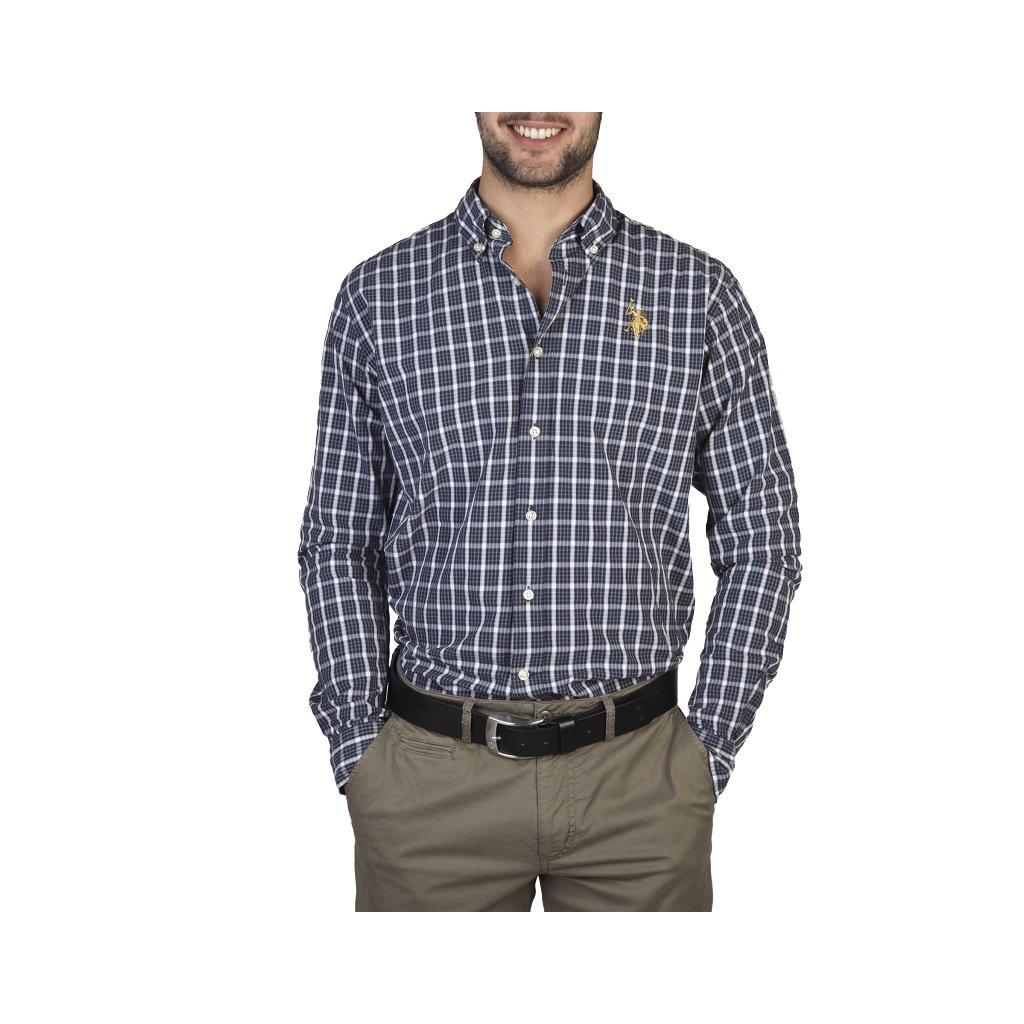 U.S. Polo pánská košile modrá kostička-do 1-3 dní-45/46(2XL)