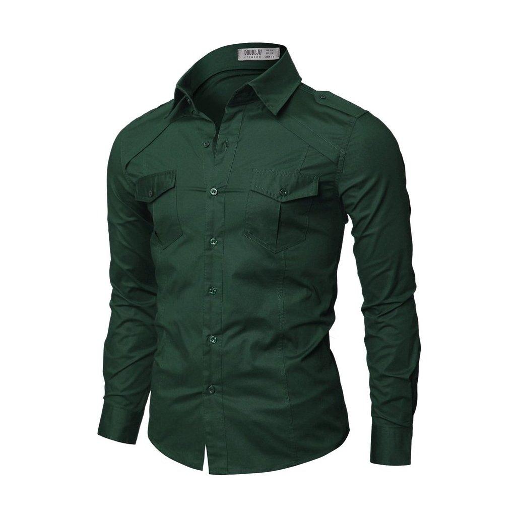 Zelená pánská košile Doublju s kapsami-S