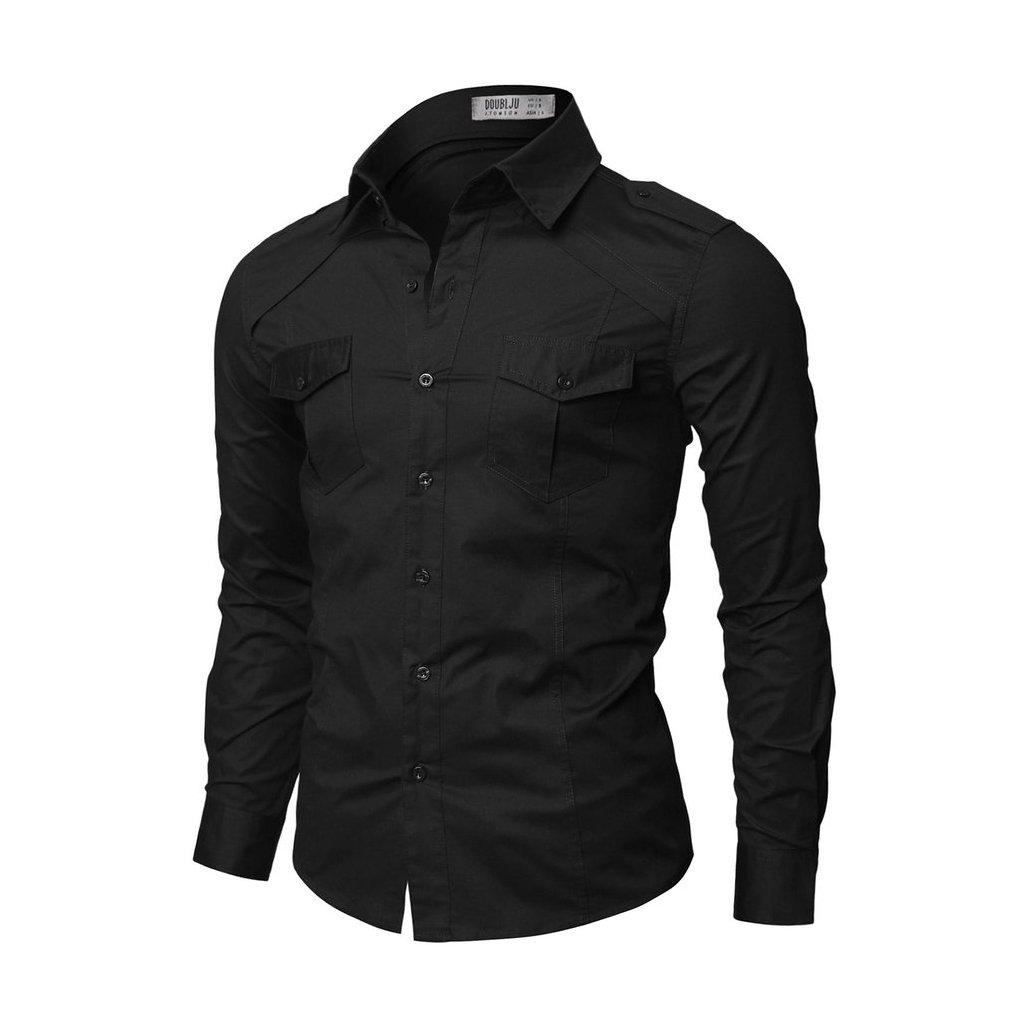 Černá pánská košile Doublju s kapsami-M