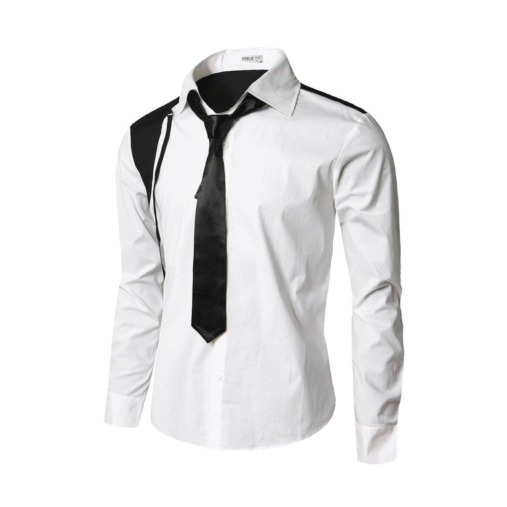 Bílá košile s kravatou a černým doplňkem-M
