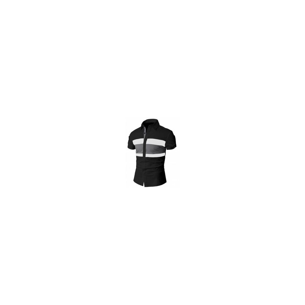 Pánská letní košile Doublju - černá, pruh