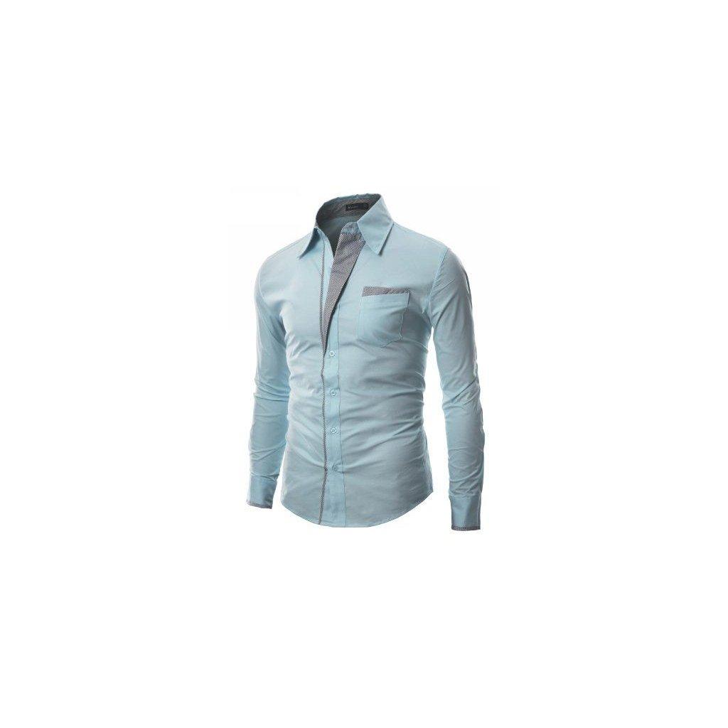 Pánská košile s nevšedním střihem - světle modrá