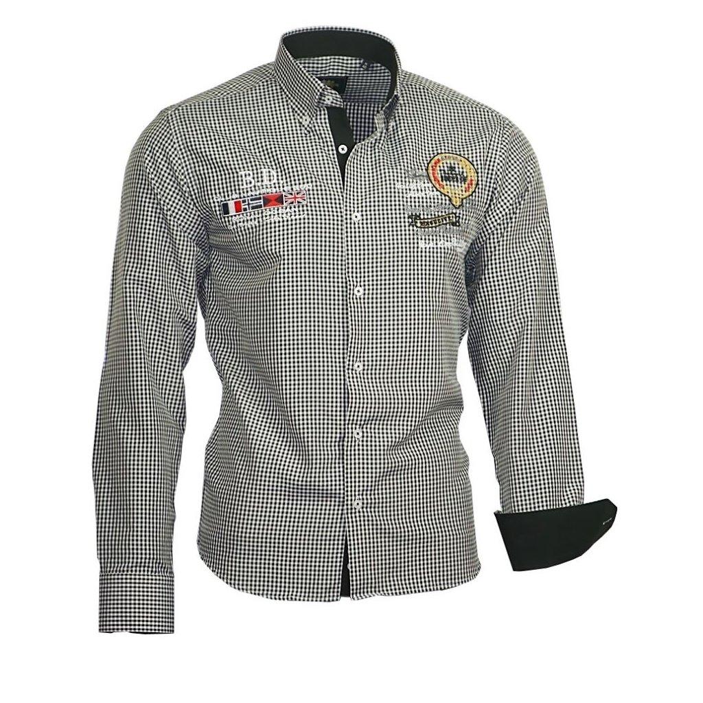 Luxusní pánská košile Binder s výšivkami - černá-39/40(M)