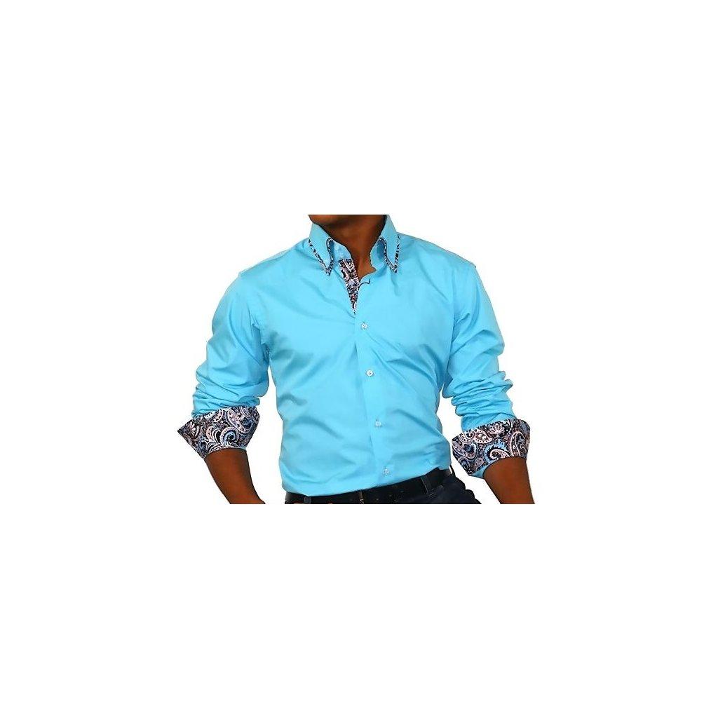 Luxusní pánská košile Binder tyrkysová-41/42(XXL)
