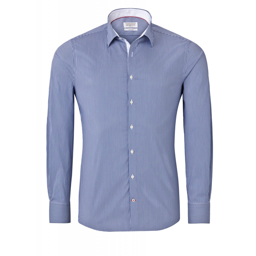 Vincenzo Boretti modrá košile, kostička se světlými doplňky
