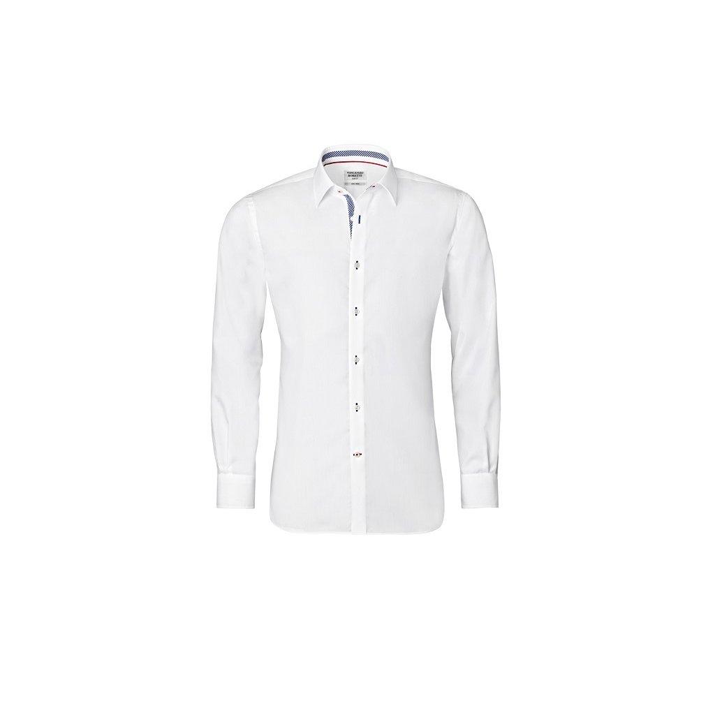 Bílá košile s modrými doplňky, dual manžety Vincenzo Boretti , SF680