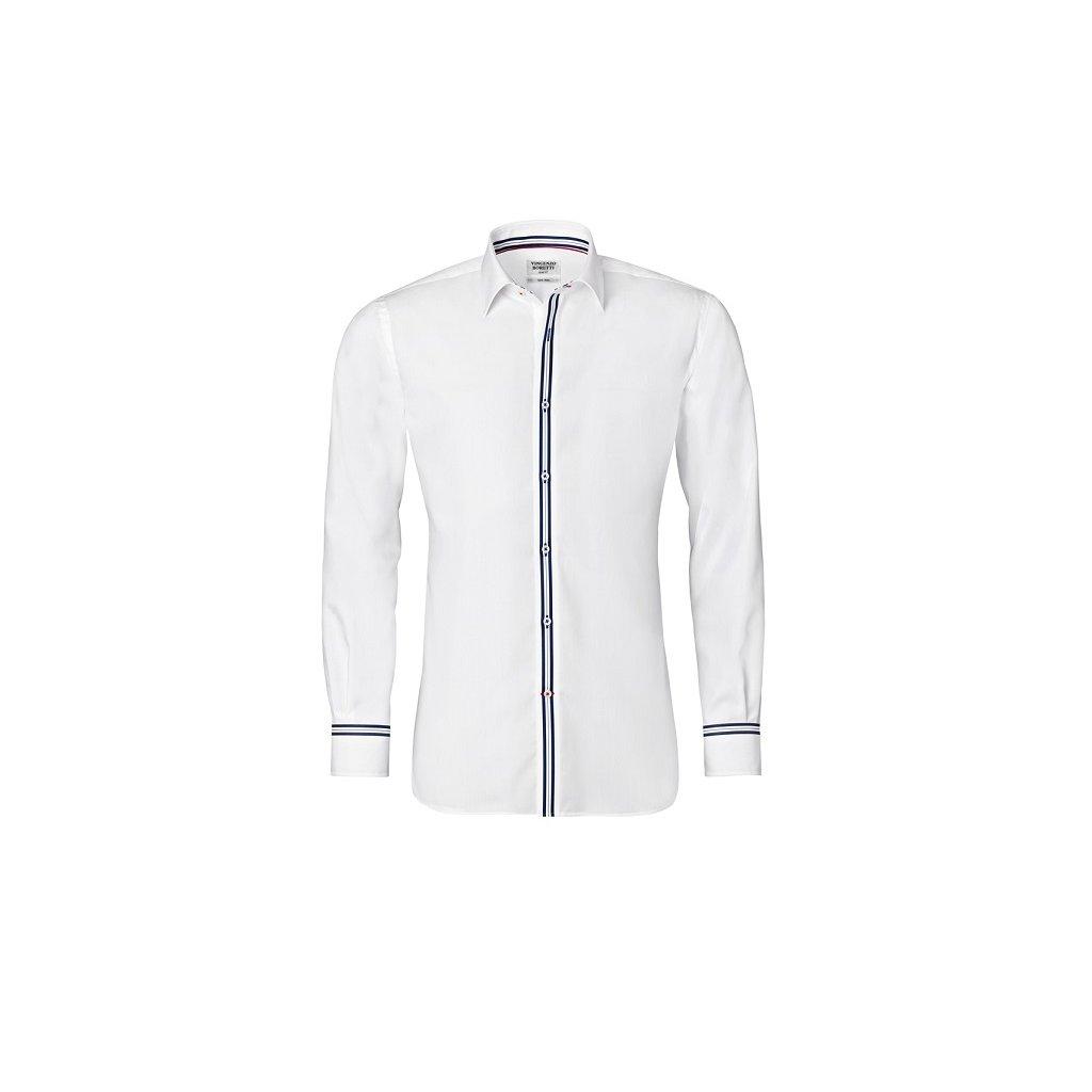 Bílá košile s modrými doplňky, dual manžety Vincenzo Boretti , SF685