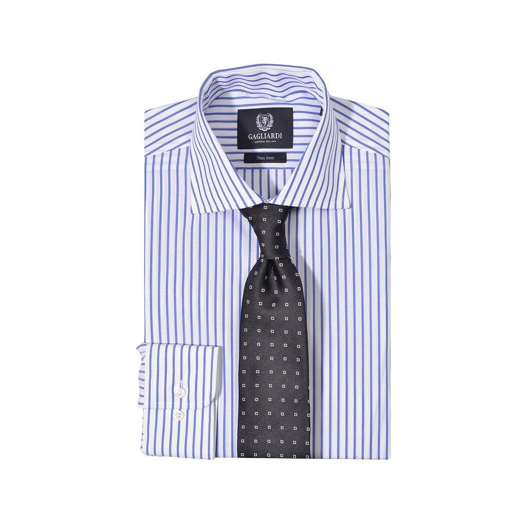Luxusní bílá košile Gagliardi - modré pruhy