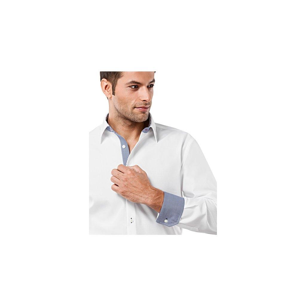 Bílá košile s modrou kostičkou Vincenzo Boretti