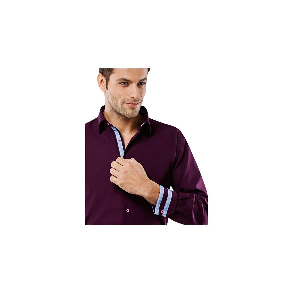 Fialová košile s modrou kostičkou Vincenzo Boretti