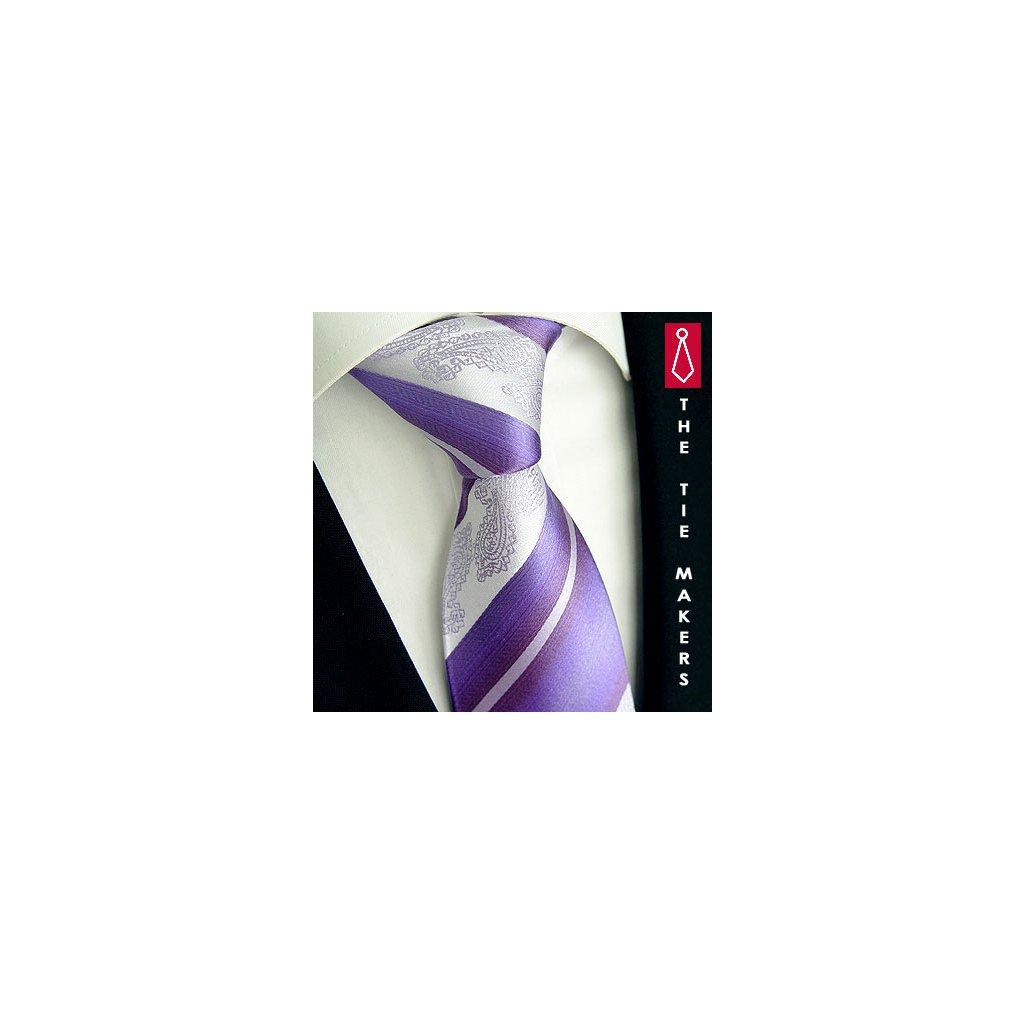 Svatební kravata Beytnur 206-4 fialovo stříbrná