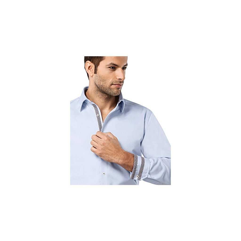Ledově modrá košile s hnědou kostičkou Vincenzo Boretti