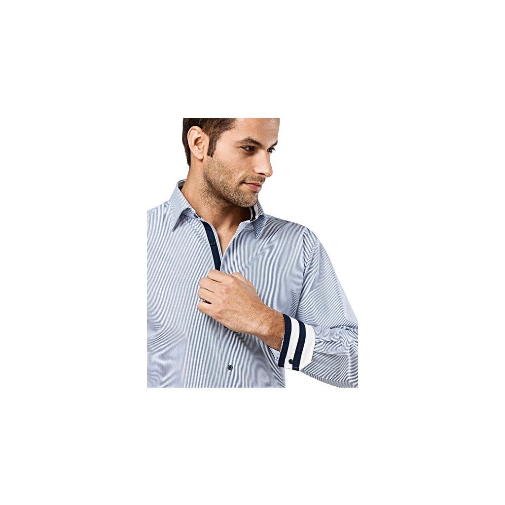 Bílá košile s tmavě modrým proužkem Vincenzo Boretti