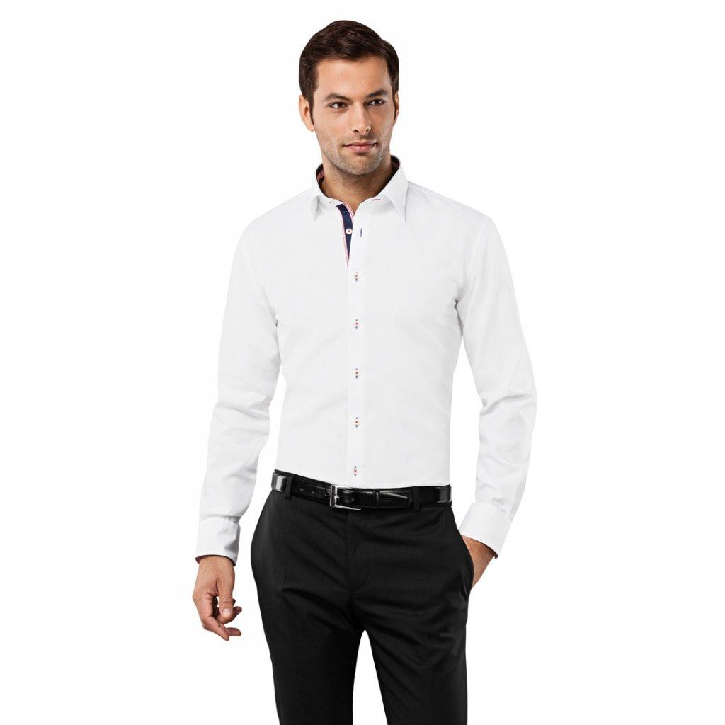 Bílá košile Vincenzo Boretti - modročervené doplňky