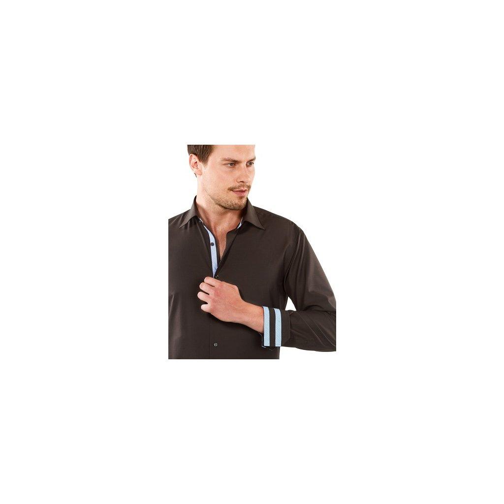 Hnědá košile s modrými doplňky Vincenzo Boretti, dual manžety, RF732