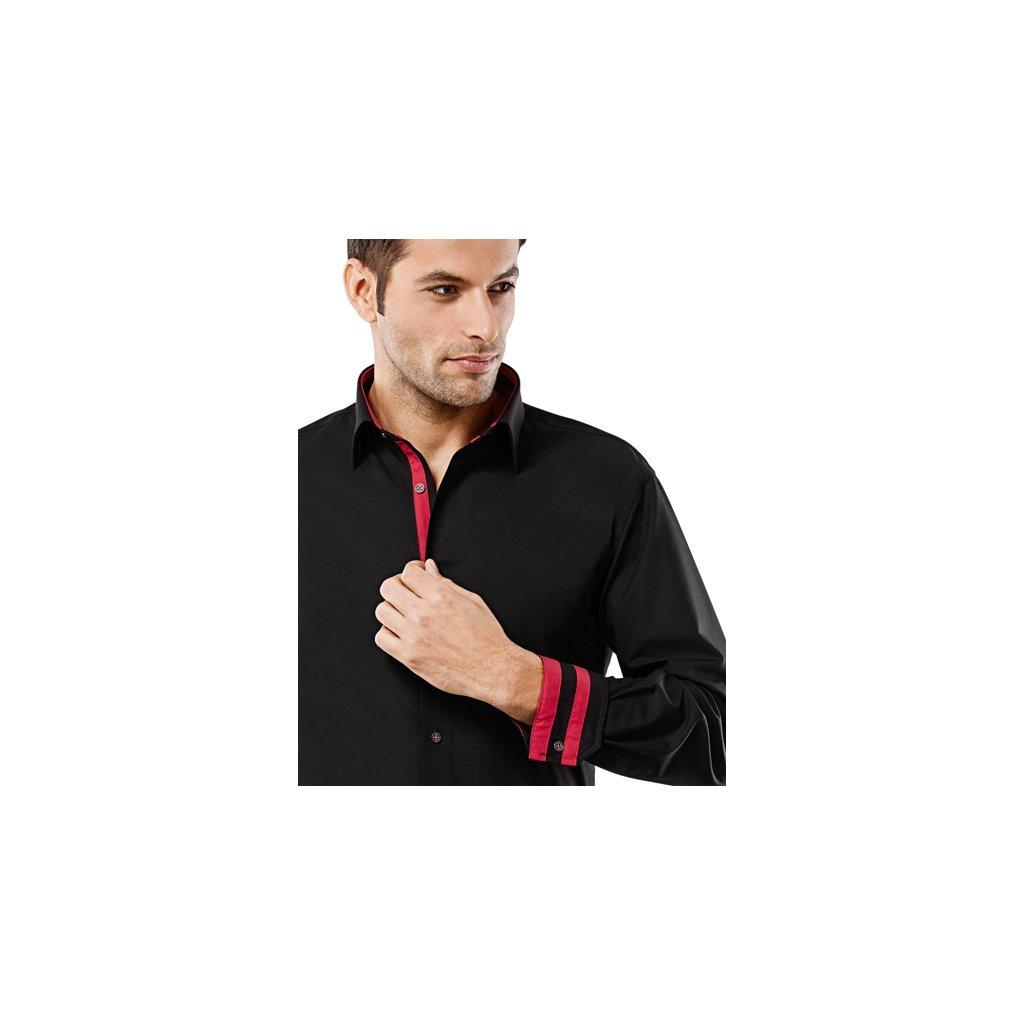 Černá košile s červenými doplňky Vincenzo Boretti, dual manžety, RF768