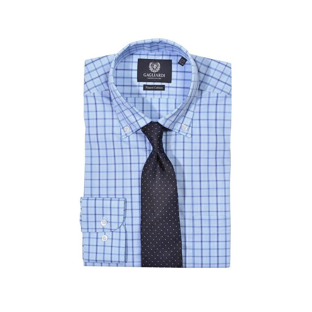 Luxusní modrá košile Gagliardi - kostka