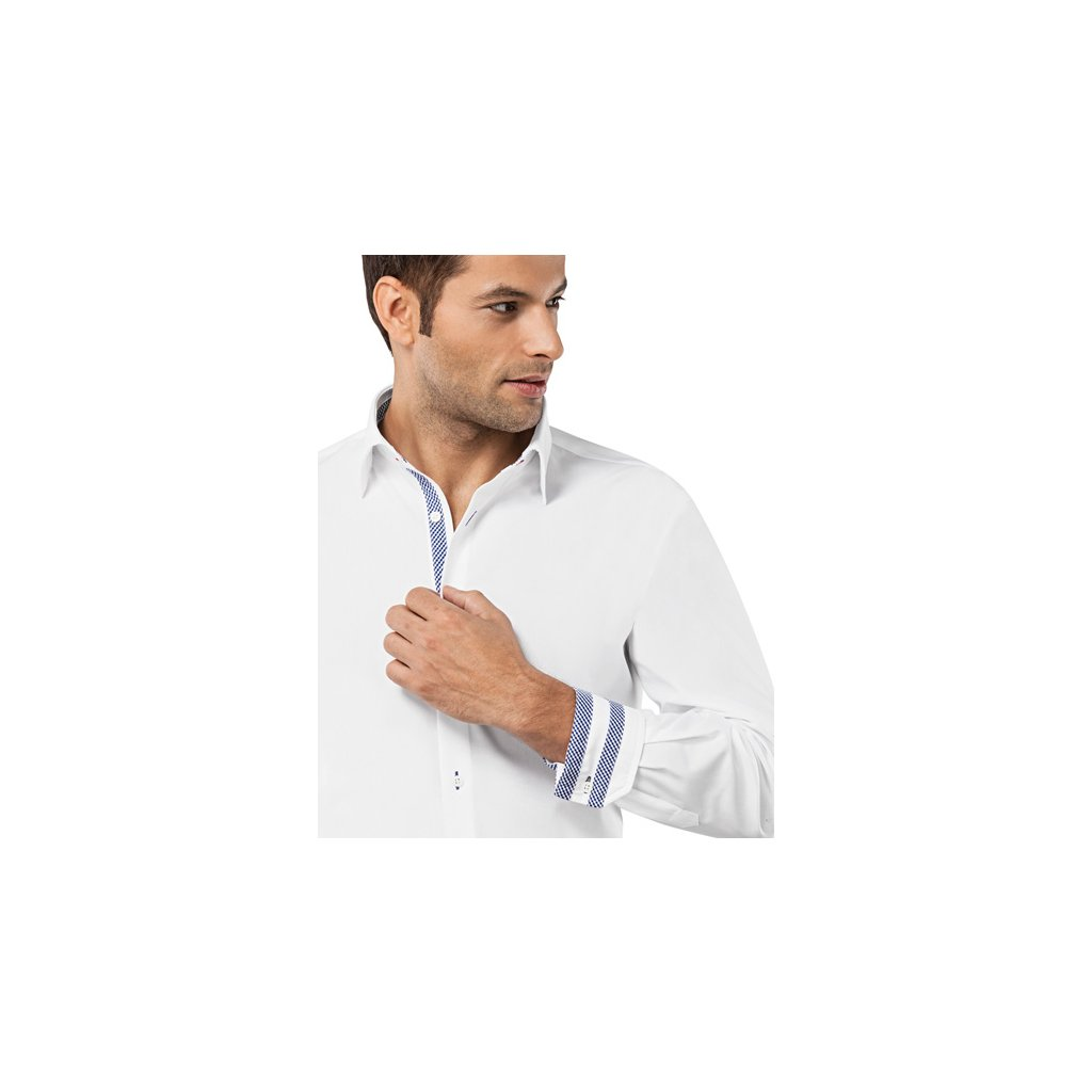 Bílá košile s modrými doplňky Vincenzo Boretti, dual manžety, RF709