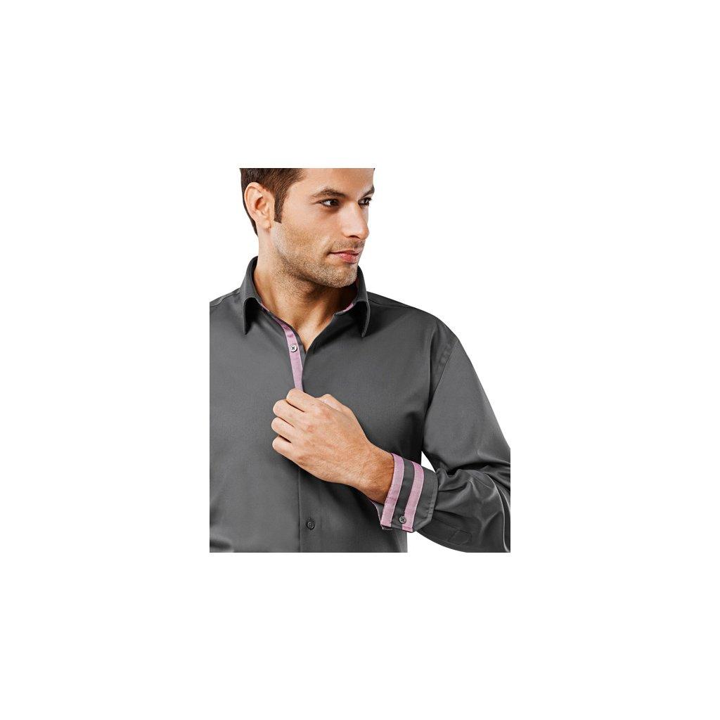 Šedá pánská košile Vincenzo Boretti - červené doplňky