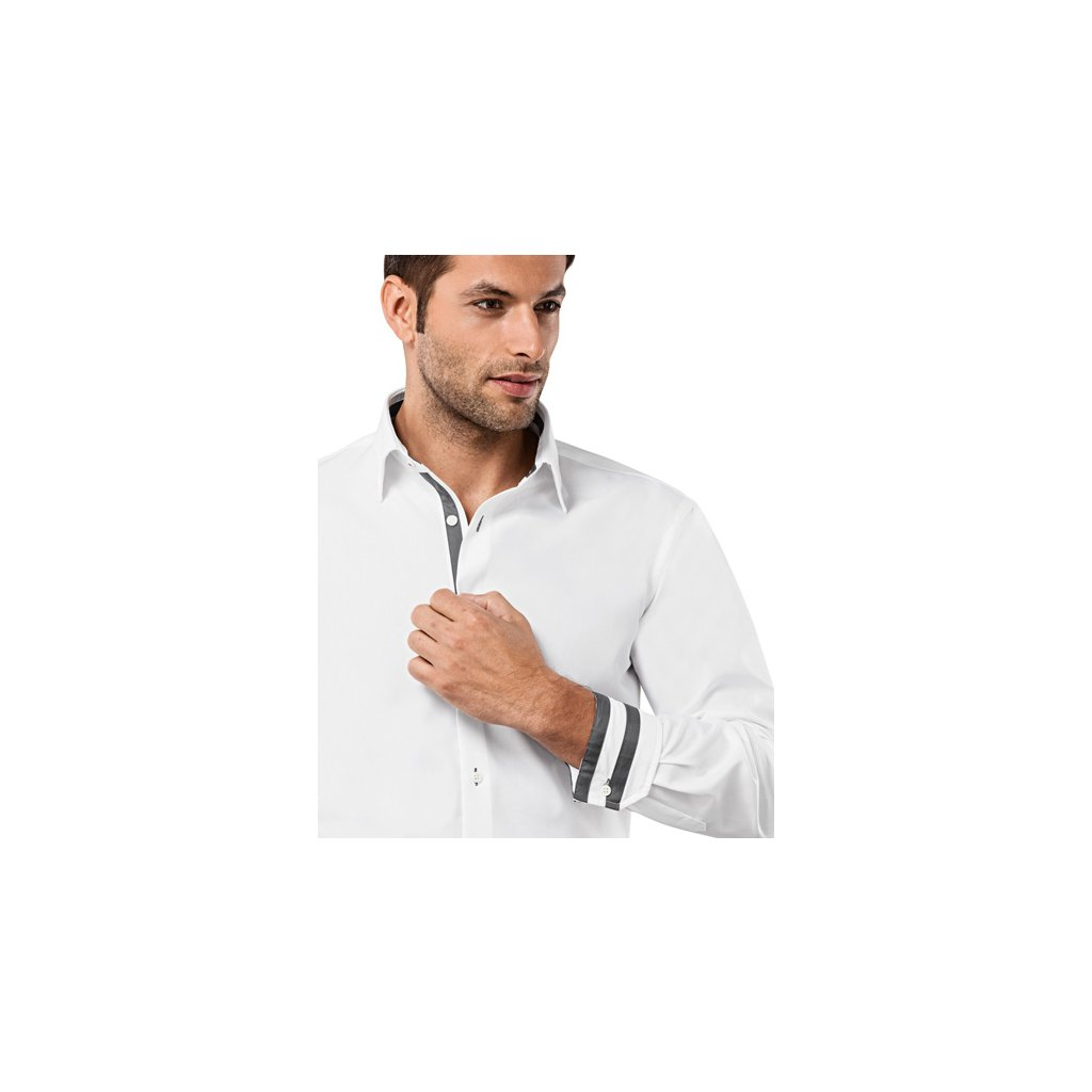 Bílá košile s šedými doplňky Vincenzo Boretti