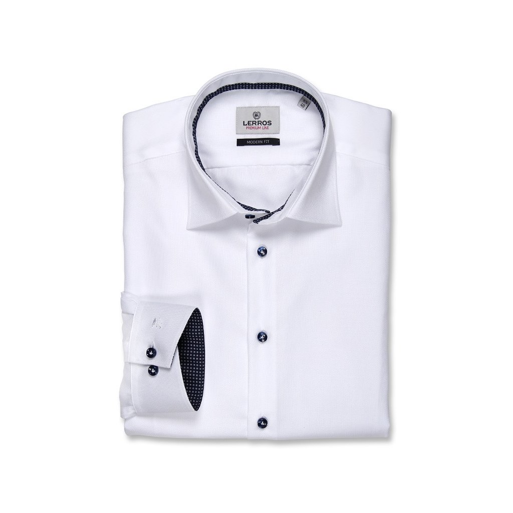 74d4b2fbf48 Bílá košile Lerros Premium Line - modré doplňky - Luxusní móda