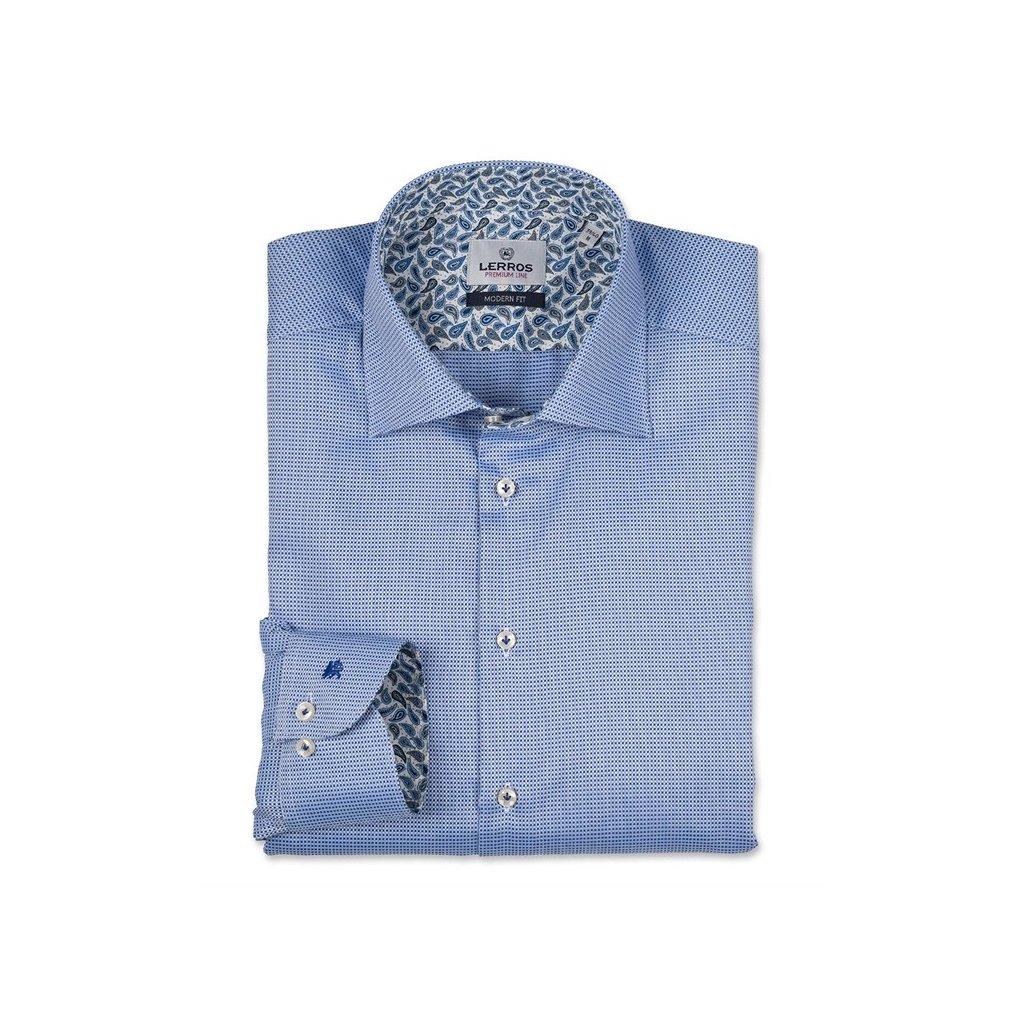 df86131829d Modrá kostičkovaná košile Lerros Premium Line - Luxusní móda