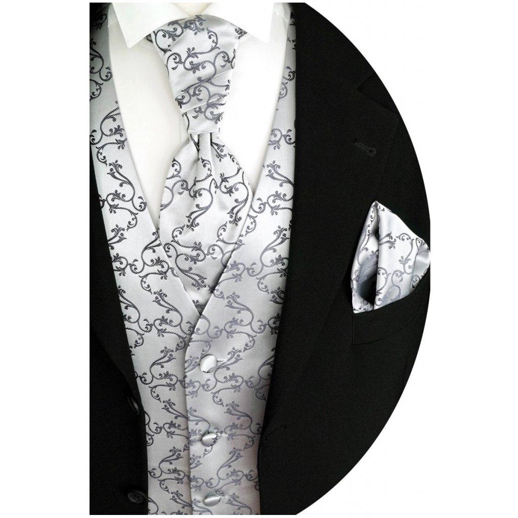 Svatební vesta Beytnur 8-1 kravata, plastron a kapesníček