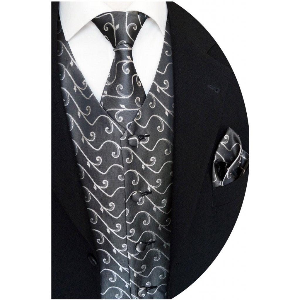 Společenská vesta Beytnur 12-3 ragata, kravata a kapesníček