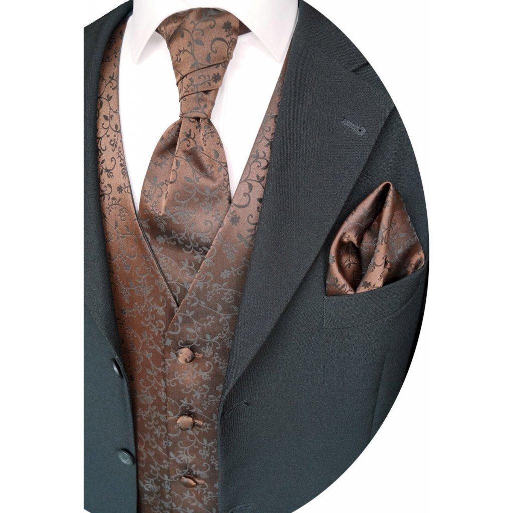 Společenská vesta Beytnur 17-5  kravata, plastron a kapesníček
