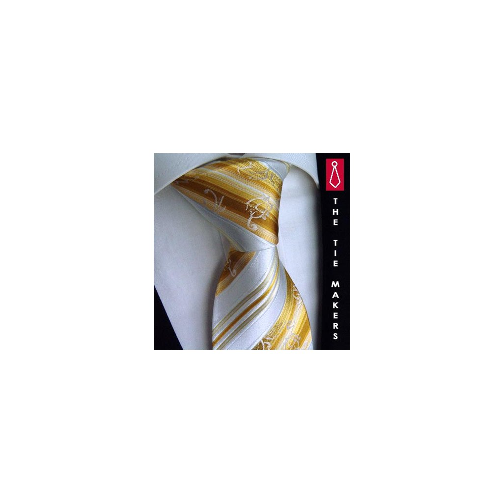 Luxusní slavnostní kravata Beytnur200-1 zlatá bílá