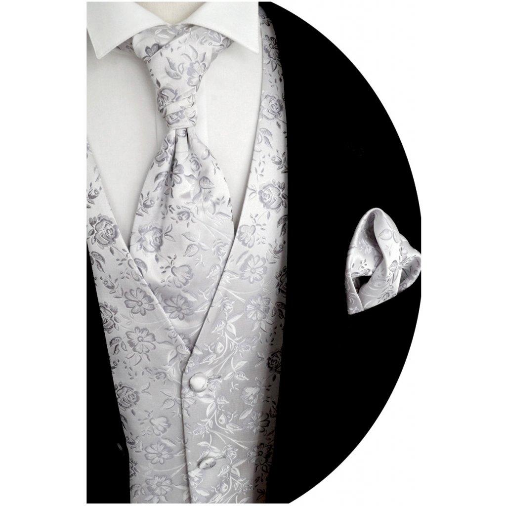 Svatební vesta stříbrná se vzorem květů