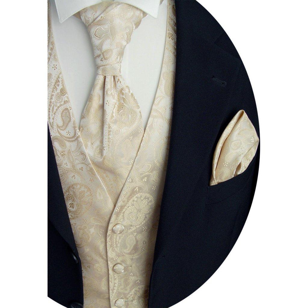 Svatební vesta Beytnur 20-2 kravata, plastron a kapesníček - Ivory