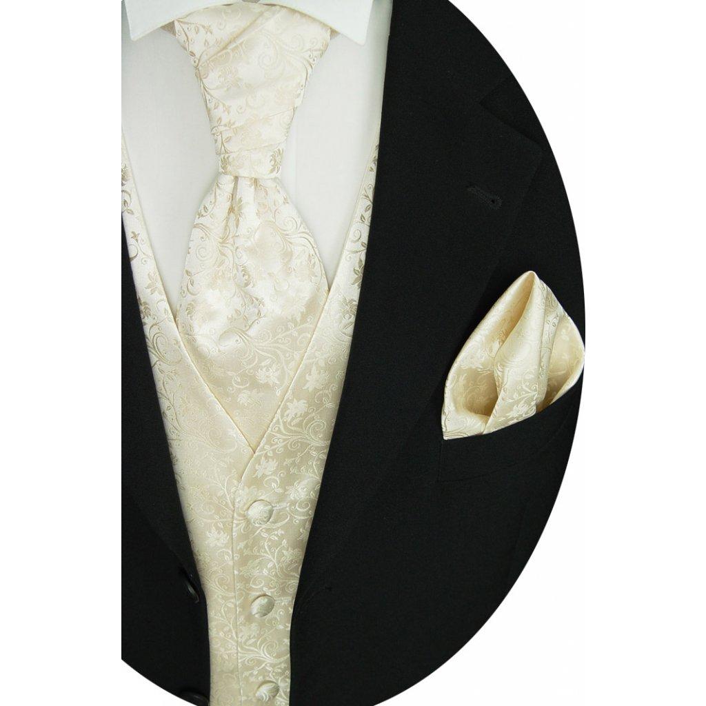 Svatební vesta Beytnur 34-1 kravata, plastron a kapesníček - krémová