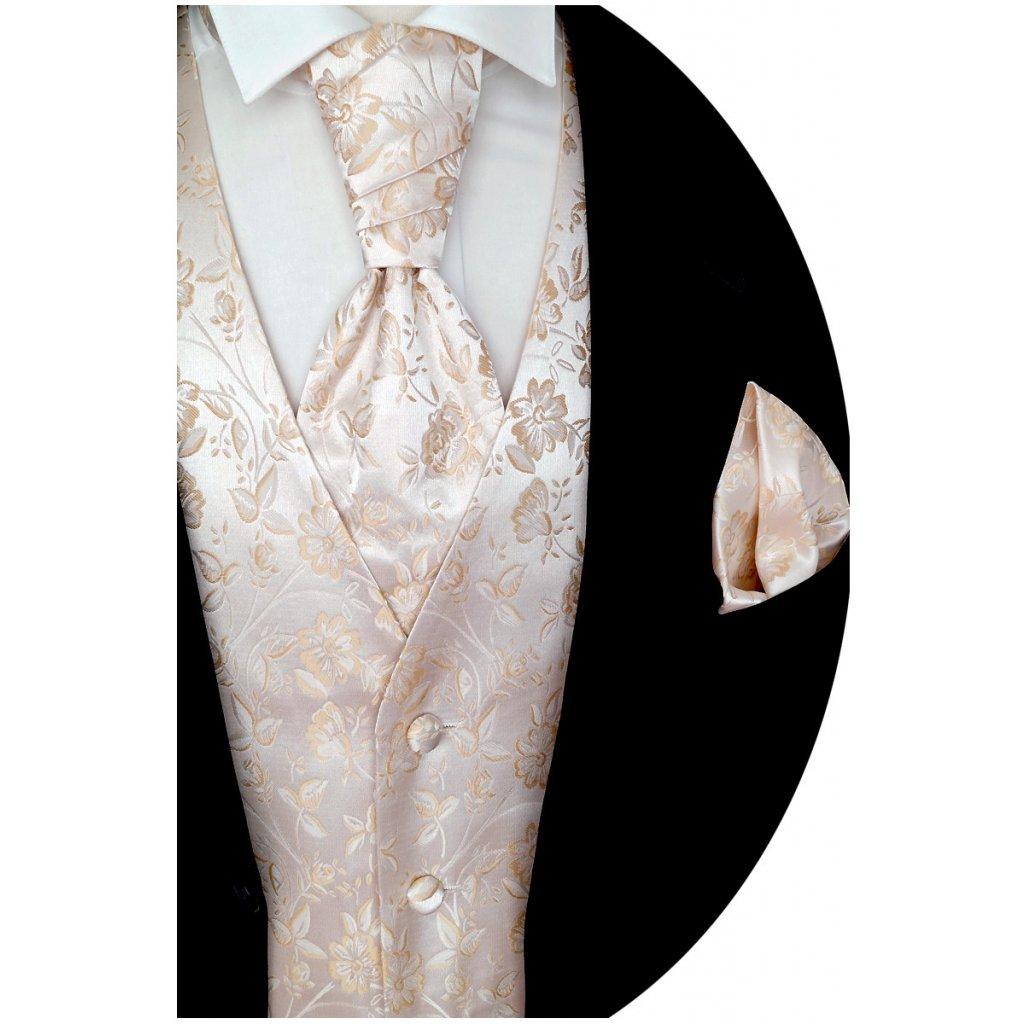 Svatební vesta Beytnur 16-1 kravata, plastron a kapesníček - květinový vzor