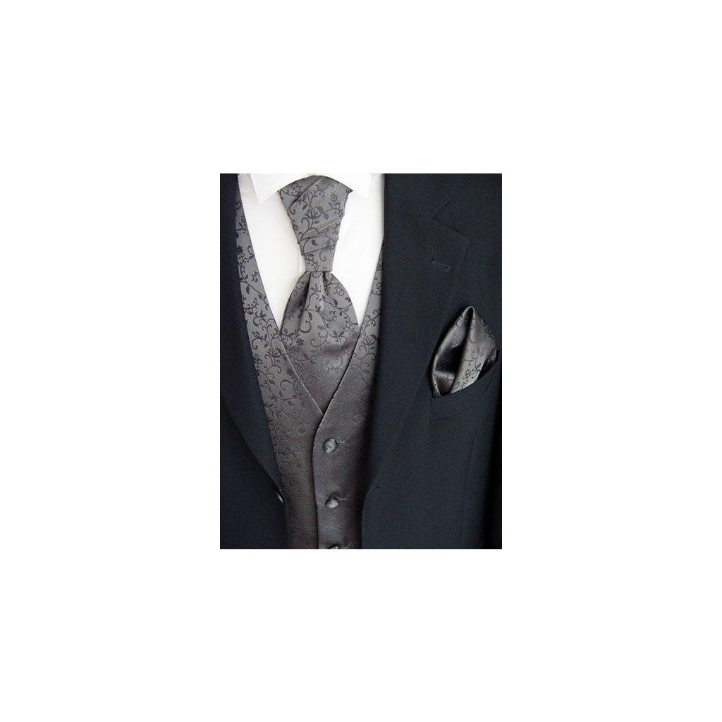 Antracitová vesta Beytnur 17-7 kravata, plastron a kapesníček