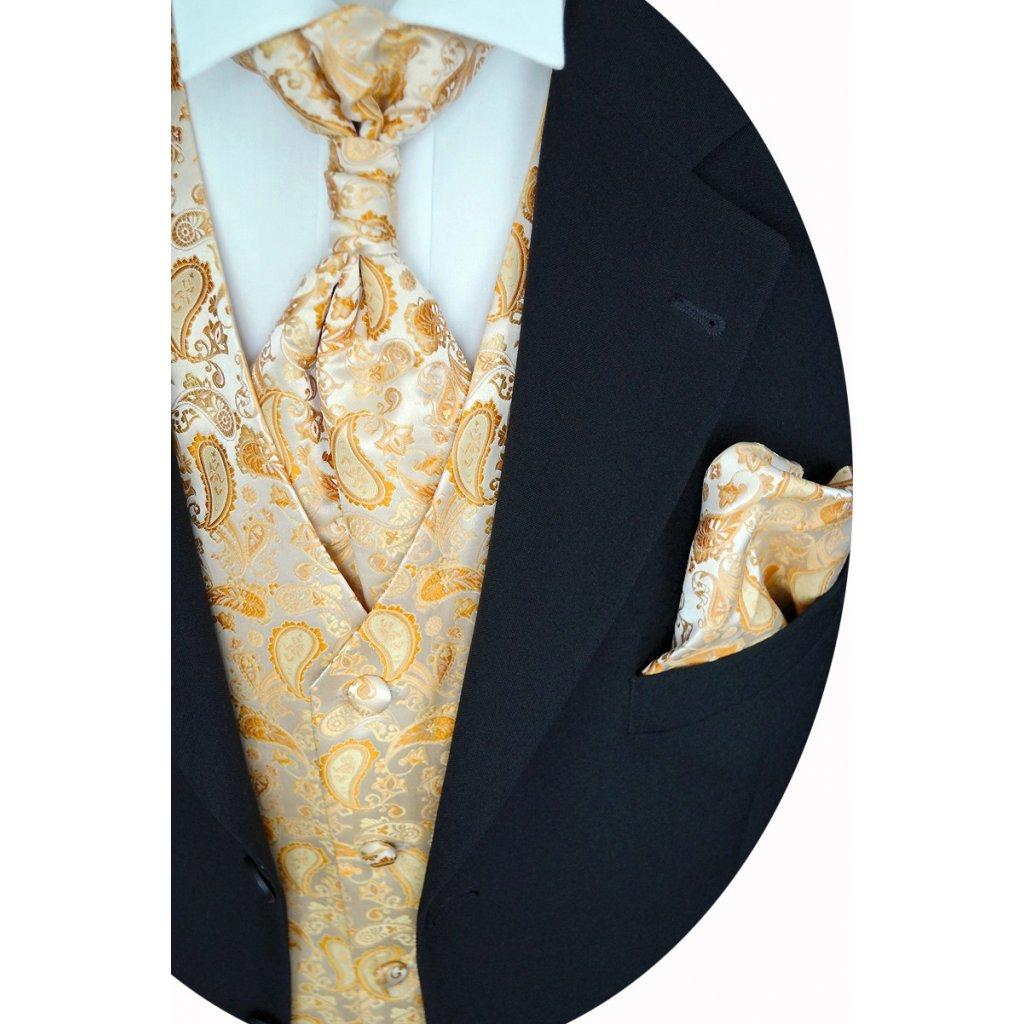 Zlatá svatební vesta Beytnur 13-1 kravata, regata a kapesníček