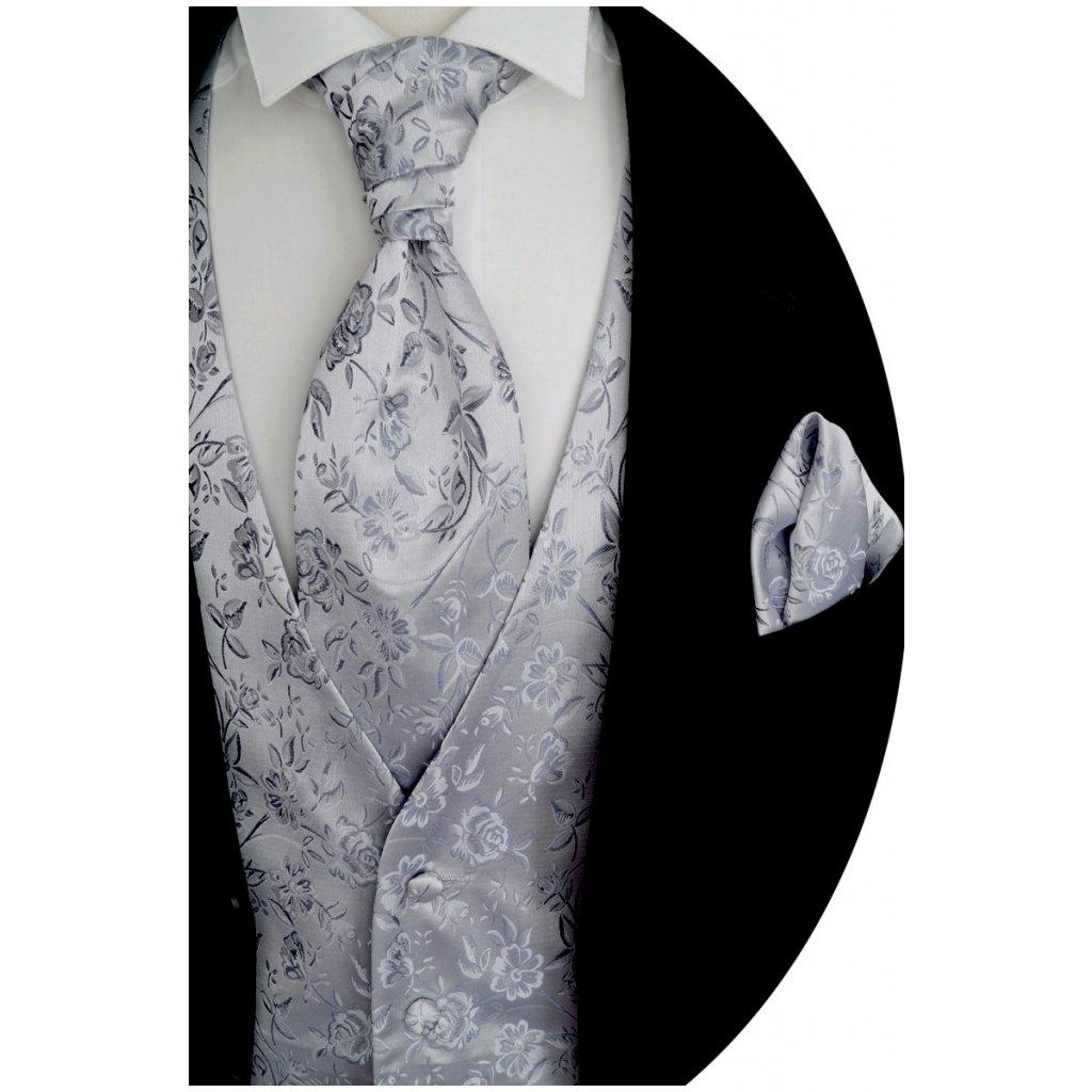 Stříbrná svatební vesta Beytnur 16-3 plastron, kravata a kapesníček